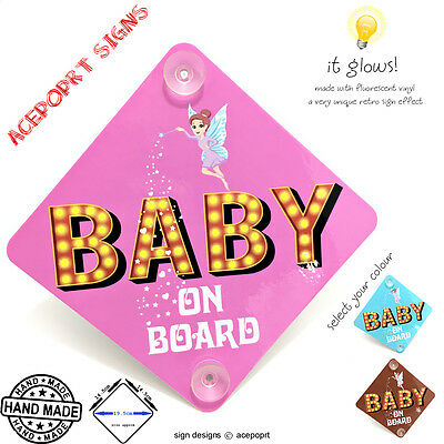 BABY ON BOARD sign - RETRO LIGHTS (with suction cups or sticker)