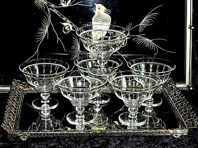 Magnificent  Vintage Stuart Crystal Etched Dessert Bowls Set Of 6