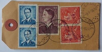 Belgium 1958 Parcel Tag From Underpaid Airmail Package Including 50 Franc Stamp