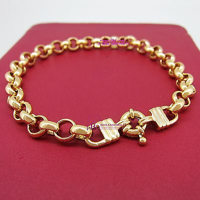 Women Girl Real Solid 9k Yellow Gold GF Bracelet Bangle Belcher Chain Ring Clasp