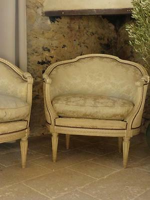 Pair of Louis XVI style French armchairs - antique French armchairs