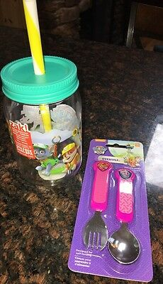 New Paw Patrol Toddler Girls Fork/Spoon Set And Plastic Mason Jar Cup & Lid CUTE