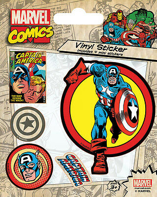 Captain America Aufkleber Set / Vinyl Sticker Bundle # 1 Marvel Comics