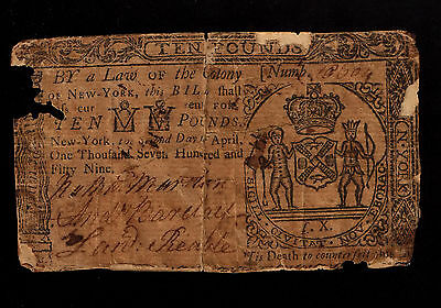 New York Colonial Currency - April 2, 1759 -10 Pounds
