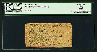 New Jersey Colonial Currency - May 1, 1758 -6 Pounds