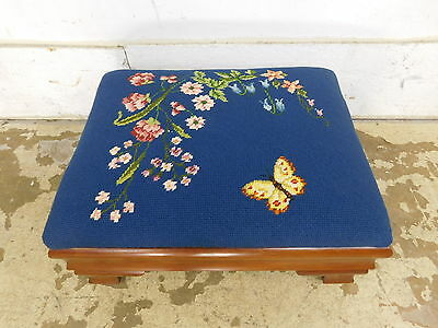 Antique Empire Mahogany Footstool Ottoman Stool w Needlepoint Butterfly Flowers