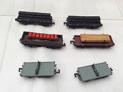 N GAUGE JOB LOT OF 6x WAGONS WITH LOADS / BOLSTER WAGONS