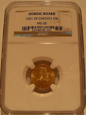 Sweden 1901 EB Gold 10 Kronor NGC MS-65 Nordic Hoard
