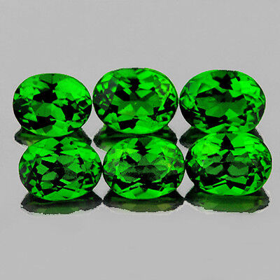 4x3 mm OVAL 6 PIECES NATURAL INTENSE CHROME GREEN DIOPSIDE [FLAWLESS-VVS]