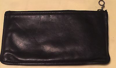 """Vintage Early Coach Black Leather Coin Purse Used,  7.25"""" X 4.25"""""""