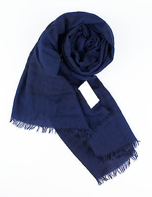 NWT BRUNELLO CUCINELLI Blue Plaid 100% Cashmere Scarf $820