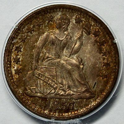 """1857 Seated Liberty Half Dime * PCGS MS65 * Old """"Rattler"""" Holder * OGH"""