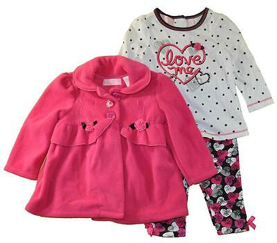 Kids Headquarters Infant Girls 3pc Set Jacket, Shirt And Leggings Size 12M