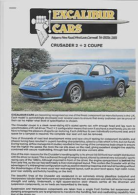 EXCALIBUR CARS CRUSADER 2 + 2 COUPE SALES 'BROCHURE' 1990's?