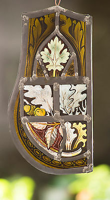 Vintage stained glass window hanging (suncatcher) leaf designs