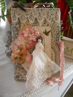 Mixed Media Fabric Collage Book Vintage Lace & Paper Journal