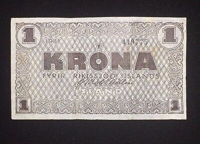 1941 Iceland One Krona Emergency Note