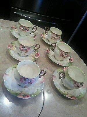 Art nouveau Carl Knoll Fischern 6 Cups And Saucers Poppies