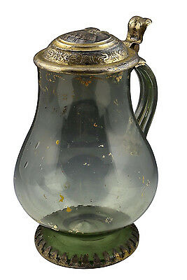 Antique 17th / 18th Century Blown Glass Stein w/ Gilt Metal Lid & Foot Ring