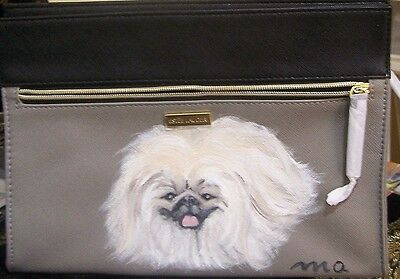 Pekingese hand painted original art real brush Estee Lauder cosmetic bag