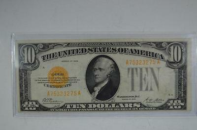 $10.00 Gold Certificate. Series of 1928, Fr-2400. About EF Lot 180
