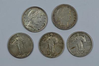 Scarcer Barber and Standing Liberty Quarters Lot 221