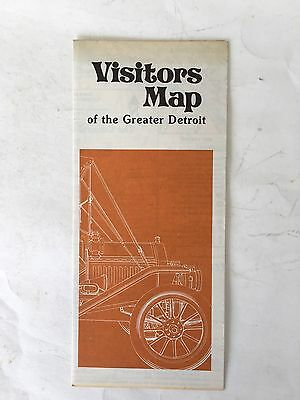 Vintage Visitors Map Of The Greater Detroit Old  City 1977