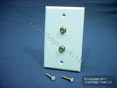 Leviton White Dual Cable Wallplate Coaxial Video F-Type Duplex Connector 40982-W