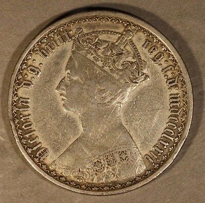 1872 Great Britain Gothic Florin Silver Circulated Nice ** FREE U.S. SHIPPING **