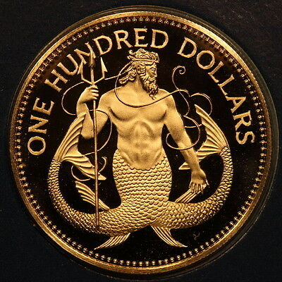 "Barbados 100 Dollars 1983 ""Neptune"" Gold Gem Proof - Mtg:484"
