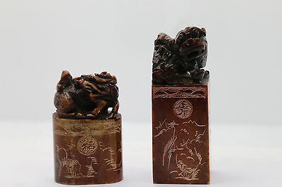 Vintage Old Chinese Stone Carved Seal Stamp Pair Dragon