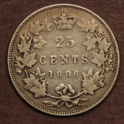 Canada 25 Cents 1886 - Obverse 5 - SBE - Silver F+