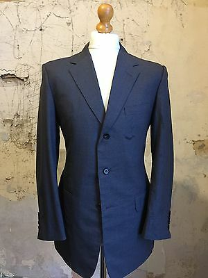 vintage bespoke three button grey city business  suit size 40
