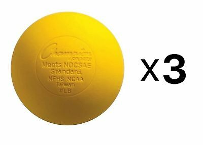 Champion Lacrosse Ball Official NFHS NCAA Massage Therapy-YELLOW (3-Pack)