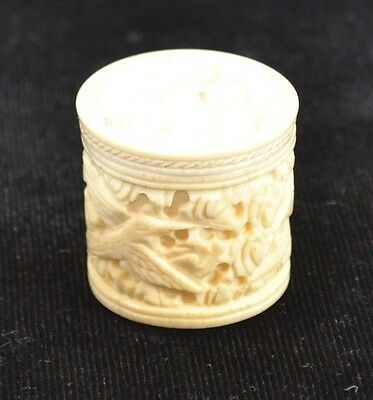 thimble holder box carved cattle bone 1.25 in. birds bats antique original