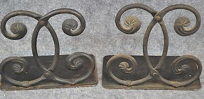 book ends forged wrought iron black pair hand made antique vintage