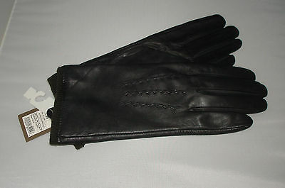 Womens MERONA LINED Black Leather Gloves  -NEW - FREE SHIPPING