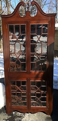 ANTIQUE Chippendale Style Solid Mahogany Corner Cabinet China HIGH END QUALITY!