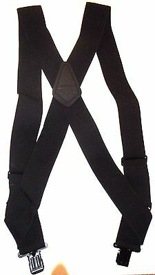 "Mens's 2"" Black Side Clip Suspenders. Elastic, 48"", SF"