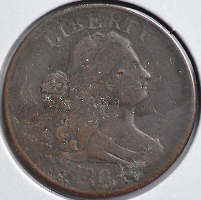 1804 1/2C Draped Bust Half Cent Type Coin Copper Circulated Very Fine Details