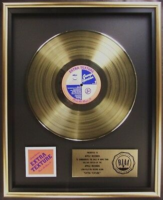 George Harrison Extra Texture LP Gold RIAA Record Award To Apple Records