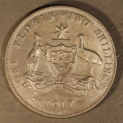1917H Australia Florin High Grade Reverse Hairlines  ** FREE U.S. SHIPPING **
