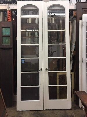 """Arched French Doors Antique Vintage 1920's 7 Lights 98-1/2""""x48"""" Open 24""""ea"""