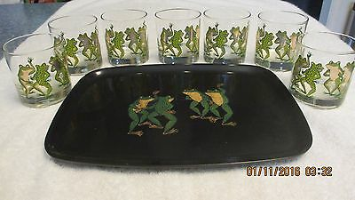 Nice Vintage Couroc Hand Inlaid Frog Tray with 7 Rock Glasses with 22 Kt Trim