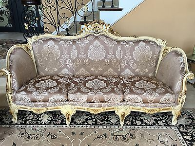 Vintage 5 Piece Wood Victorian Parlor Set Sofa And 4 Matching Chairs Italy Made