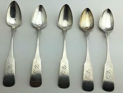 Antique Henry Parkman American Civil War 1800 19C Set 5 Coin Silver Spoons 900