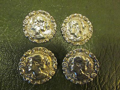 Set of 4 Large Solid Silver Buttons Birmingham 1909