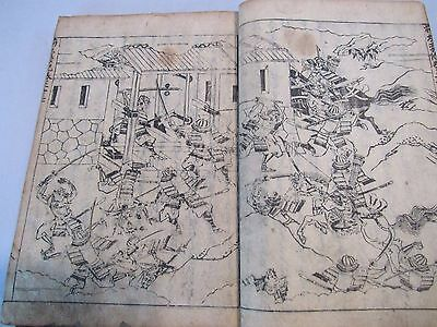 Nice Prints Samurai Story Antique Old Japanese Book No Res Seal 2B7