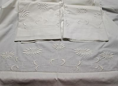 Antique Sheet Set Embroidered ART NOUVEAU Style Daisies Hemstitched Lovely!