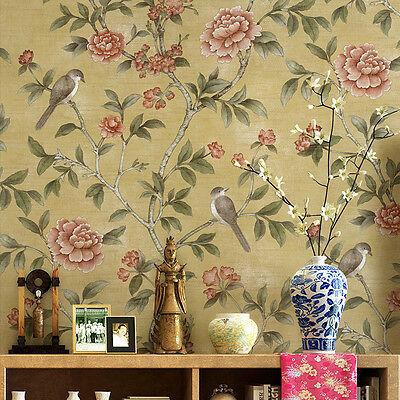 Chinese birds Flowers Floral Pastoralroom wallpaper backdrop hotels Blue/Yellow